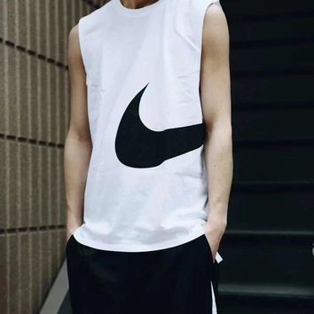 NIKE Men Sports Vest Top Sleeveless Shirt B-LFL-WX6H Four White
