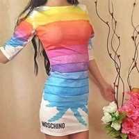 """Moschino"" Letter and Rainbow Print Dress"