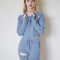 Keke Distressed 2 Piece Set (Blue)