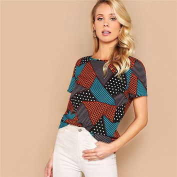 Geometric And Polka-Dot Print Women Tops And Blouses Lady Multicolor Casual Streetwear Basic Blouse Woman Clothes
