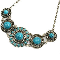 Antique Women Lady Fashion Bohemian Boho Blue Turquoise Ethnic Look Stone Necklace Pendant ERO (Size: One Size, Color: Multicolor) = 1928576260