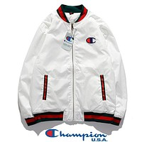 Champion New fashion embroidery logo couple long sleeve coat jacket White