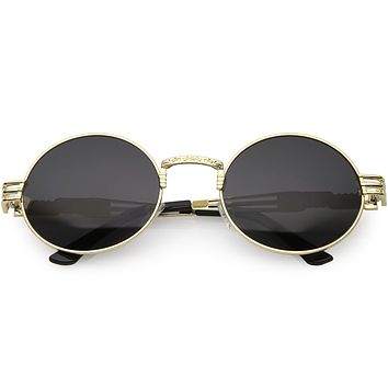 Vintage Steampunk Inspired Metal Oval Sunglasses C667