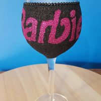 Barbie glitter wine glass