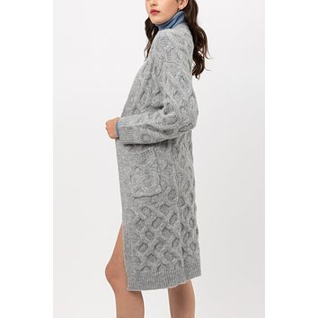Long Sleeve Open Front Textured Cable Knitted Midi Cardigan Sweater