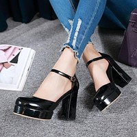 Covered Toe Ankle Straps Platform Sandals High Heels Shoes Woman 5692