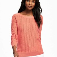 Relaxed Textured Boat-Neck Sweater for Women | Old Navy