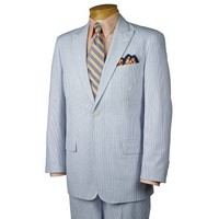Paul Fredrick Signature Cotton Seersucker Suit Blue 38 Short/32w