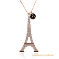 SGS Certified fancy gold plated fashion eiffel tower necklace
