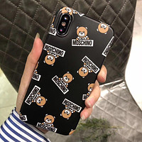 MOSCHINO Cute Bear Print iPhone Phone Cover Case For iphone 6 6s 6plus 6s-plus 7 7plus iPhone X XR XS XS MAX Black