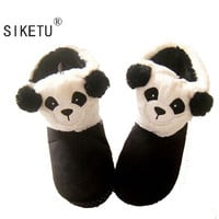 SIKETU 2017 The New Winter Women's Slippers Cute Panda Creative Home Interior Thick Warm Cotton Slippers Girls Slippers