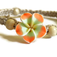 Hemp macrame bracelet orange yellow plumeria polymer flower summer beach eco friendly surf jewelry