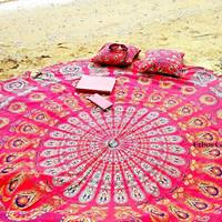 Shopnelo Ethos Collections Indian Mandala Round Roundie Picnic Throw Tapestry Hippy Boho Gypsy Cotton Tablecloth Beach Towel , Round Yoga Mat, Cushion ,Tote Bag, Pillow Sham,Travel bag,Fabric Cover