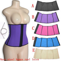 9pcs steel bones real latex waist cincher body shaping bodysuit drawing waist abdomen comfortable breathable beauty care clothing fat burning abdomen drawing double = 1732255556