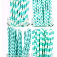 Secret Life(TM) 100 Pcs Biodegradable Paper Straws Kit with 2 Color and Patterns, Bachelorette, Baby Shower, Wedding, Birthday, Anniversary Party Supply (Aqua)(PSCFPR74)