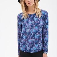 Abstract-Watercolor Print Blouse