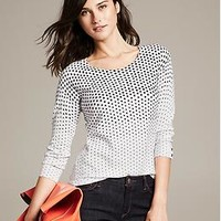 Dot Print Button-Sleeve Pullover