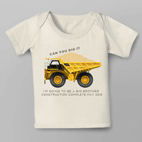 Pregnancy Announcement - Construction Digger - I'm going to be a big brother - Can you Dig It? Iron on PDF girl or boy sibling Construction