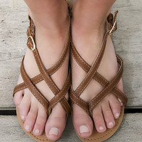 Sacramento Vibes Cognac Brown Strappy Flat Sandals