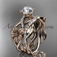 Unique 14kt rose gold floral diamond wedding ring, engagement set ADLR270S
