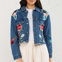 Embroidered Crop Denim Jacket