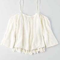 AEO OFF-THE-SHOULDER TASSEL SHIRT