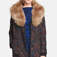 Veronica Beard Camo Jacquard Coat with Removable Genuine Coyote Fur Collar
