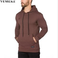 Men Hoodies Clothing New Muscle Men's Slim Fit Hooded Jackets gyms Fitness Men Hood Casual Sweatshirt