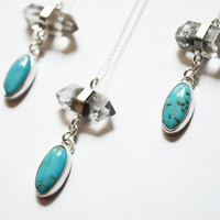Turquoise and Quartz Necklace, Crystal Necklace, Turquoise Necklace, Pendant Necklace, Tibetan Quartz Necklace