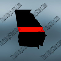 Georgia Back the Red Flag Thin Red Line Vinyl Decal | Yeti Fire Decal | American Flag | Fire Red Lives Matter | Firefighter | 412