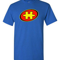 Captain Autism Super Hero T-shirt Tshirt Tee Shirt Puzzle Piece Autism Awareness Month Autistic Funny Love Support Child Parent Chest Logo