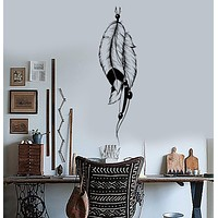 Vinyl Wall Decal Dream Catcher Feather Talisman Bedroom Decor Stickers Unique Gift (045ig)