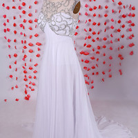 Gorgeous White empire backless chiffon prom dresses gowns beautiful beadwork,Formal evening party dresses with long tail