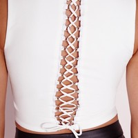 Missguided - Lace Up Back Crop Top White