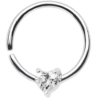 """18 Gauge 3/8"""" Sterling Silver Clear CZ Heart Daith Tragus Earring 