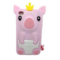 LliVEER Lovely Cute Pig Silicone Soft Rubber Cover Back Case for Apple Ipod Touch 4 4th (pink)