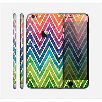 The Grunge Vibrant Green and Neon Chevron Pattern Skin for the Apple iPhone 6 Plus