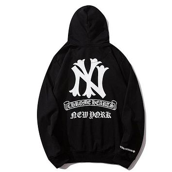 Chrome Hearts & NY Fashion New pattern letter print couple sports  leisure hooded long sleeve sweater Black