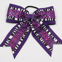 """6x5"""" Cheerleading Hair Bows - With Zebra and Sequins - Great for Cheer!"""