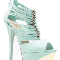 Strappy Gold Accent Menthol Heels