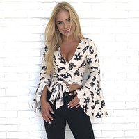 Learn To Love Floral Ivory Crop Top