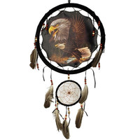 Flying Eagle Dream Catcher 13 inch with Feathers