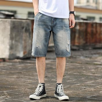 Summer Men Denim Shorts Casual Pants Jeans [3501327384669]