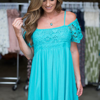 Catching Waves Cold Shoulder Dress - Teal