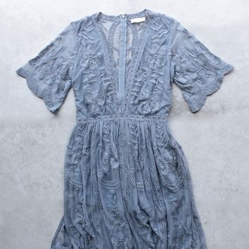 as you wish embroidered lace maxi dress (women) - dusty blue