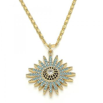 Gold Layered 04.233.0022.20 Pendant Necklace, with White Cubic Zirconia and Multicolor Micro Pave, Polished Finish, Golden Tone