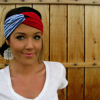 Patriotic Red, White, and Blue Vintage Turban Style Stretch Jersey Knit Headband Head Scarf Hair Cover Nautical Stripes