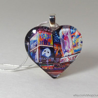 Broadway glass pendant necklace  - NYC & Times Square heart jewelry - Valentine's Day gift for the theatre lover