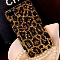 Handmade Bling sparkle diamond crystal Rhinestone iPhone 6 6 plus case iPhone 5 5s 5c 4s case samsung galaxy s5 note 2 note 3 case leopard 2