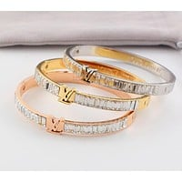 LV Louis Vuitton Fashion Women Stainless Steel Crystal Bracelet Jewelry I-HLYS-SP
